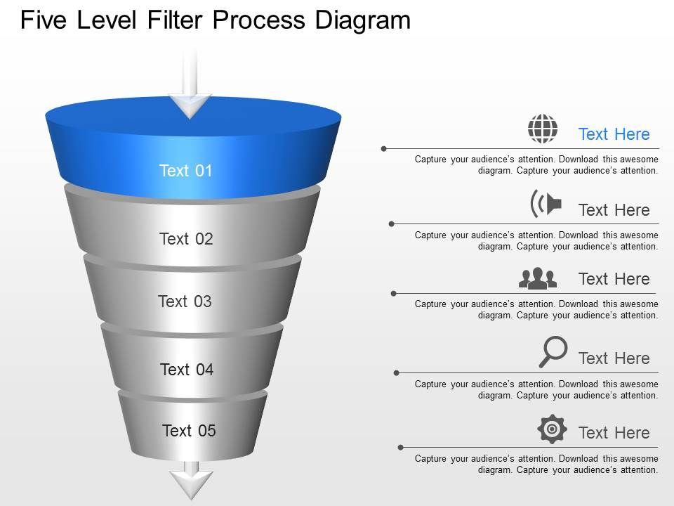 lh Five Level Filter Process Diagram Powerpoint Template ...