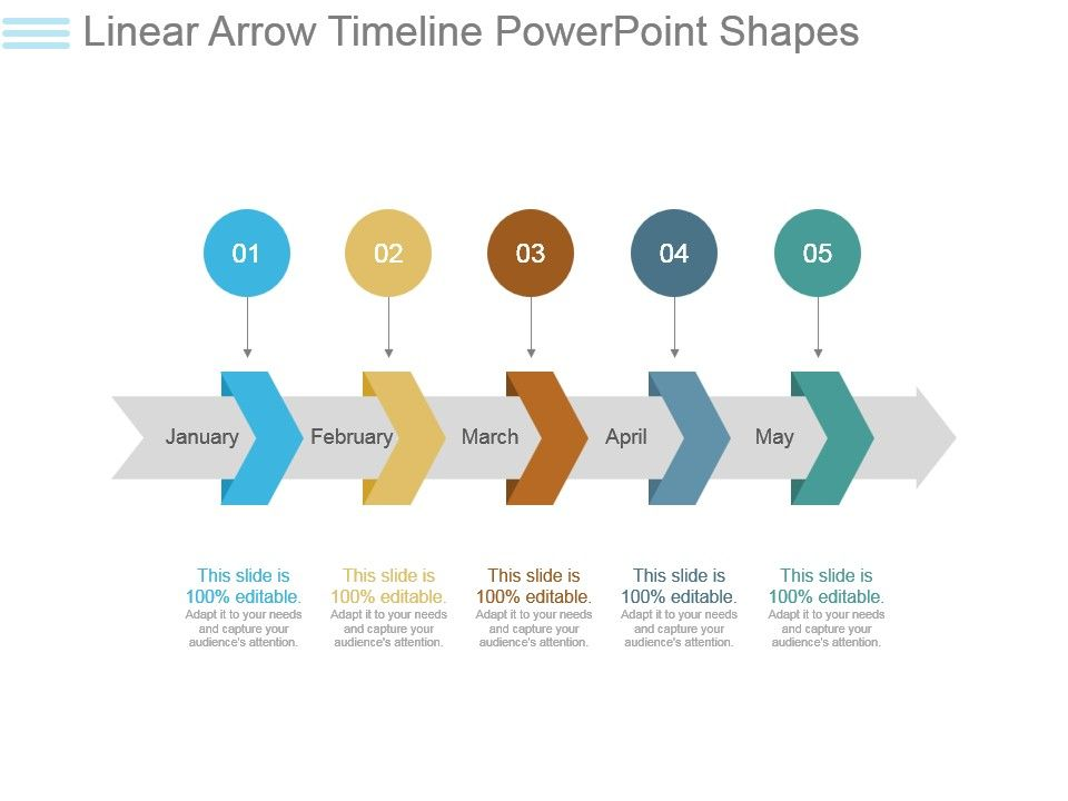 Linear Arrow Timeline Powerpoint Shapes PPT Images Gallery