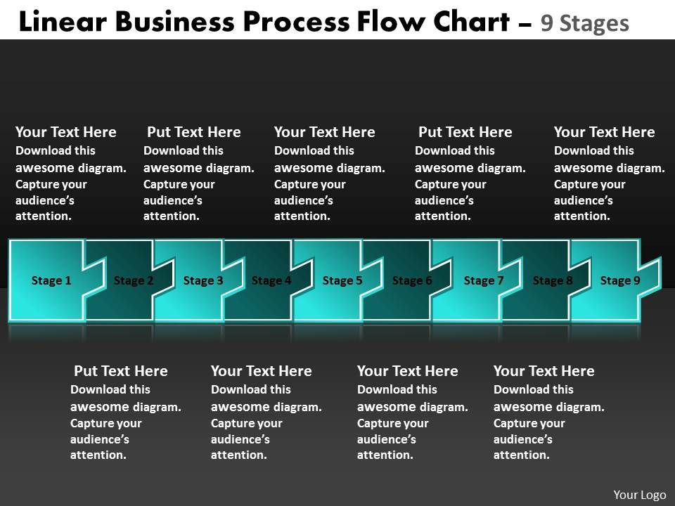Linear Business Process Flow Chart 9 Stages Electrical Schematic Rhslideteam: Electrical Schematic Symbols For Powerpoint At Gmaili.net