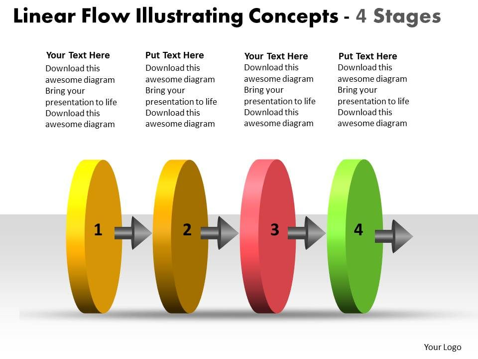 linear_flow_illustrating_concepts_4_stages_chart_free_powerpoint_templates_Slide01