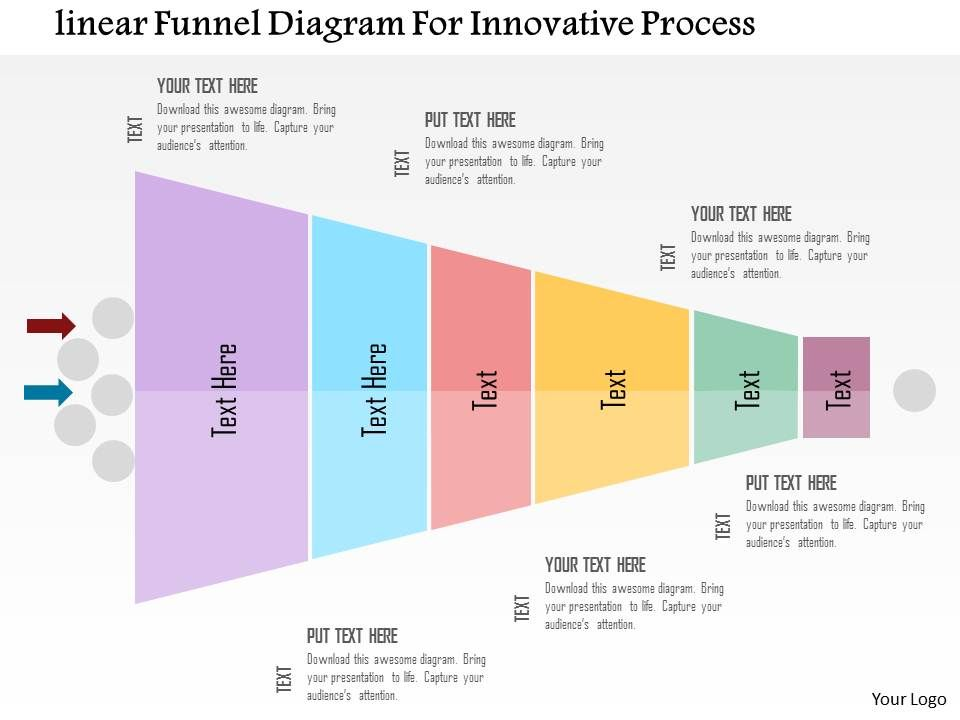 linear funnel diagram for innovative process flat. Black Bedroom Furniture Sets. Home Design Ideas
