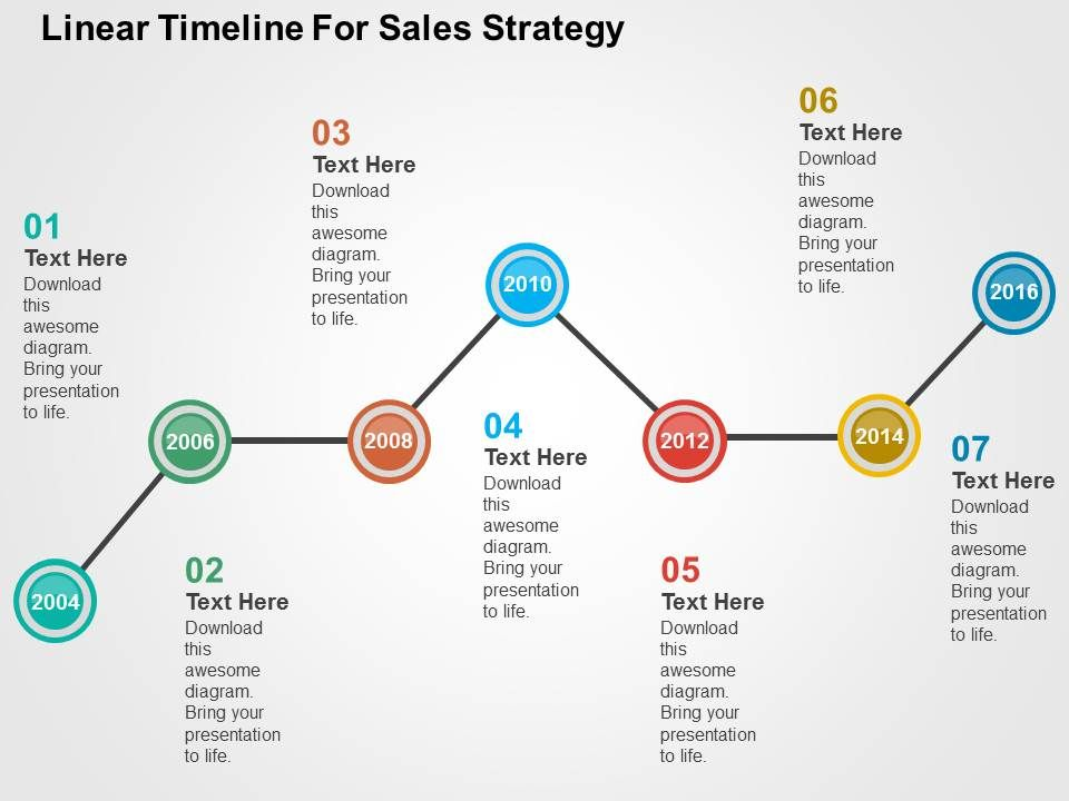 Linear Timeline For Sales Strategy Flat Powerpoint Design