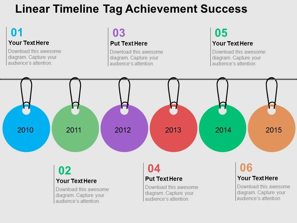 linear timeline tag achievement success flat powerpoint design, Presentation templates