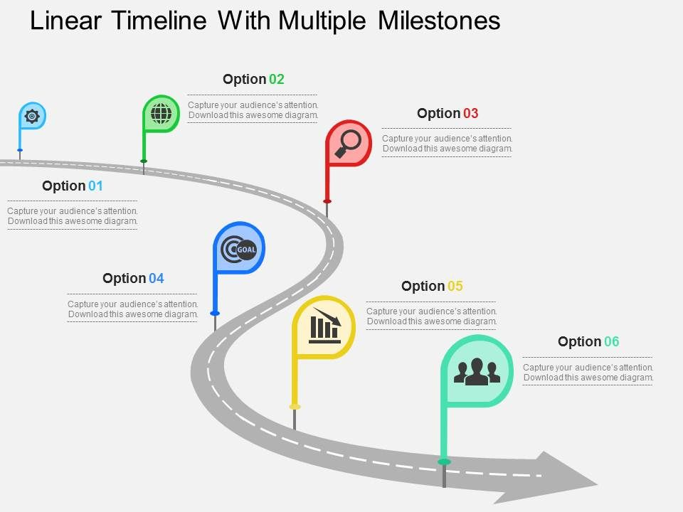Linear Timeline With Multiple Milestones Flat Powerpoint Design Slide01 Slide02