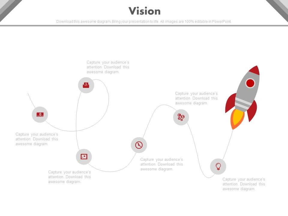 linear timeline with rocket and icons for business vision, Presentation templates