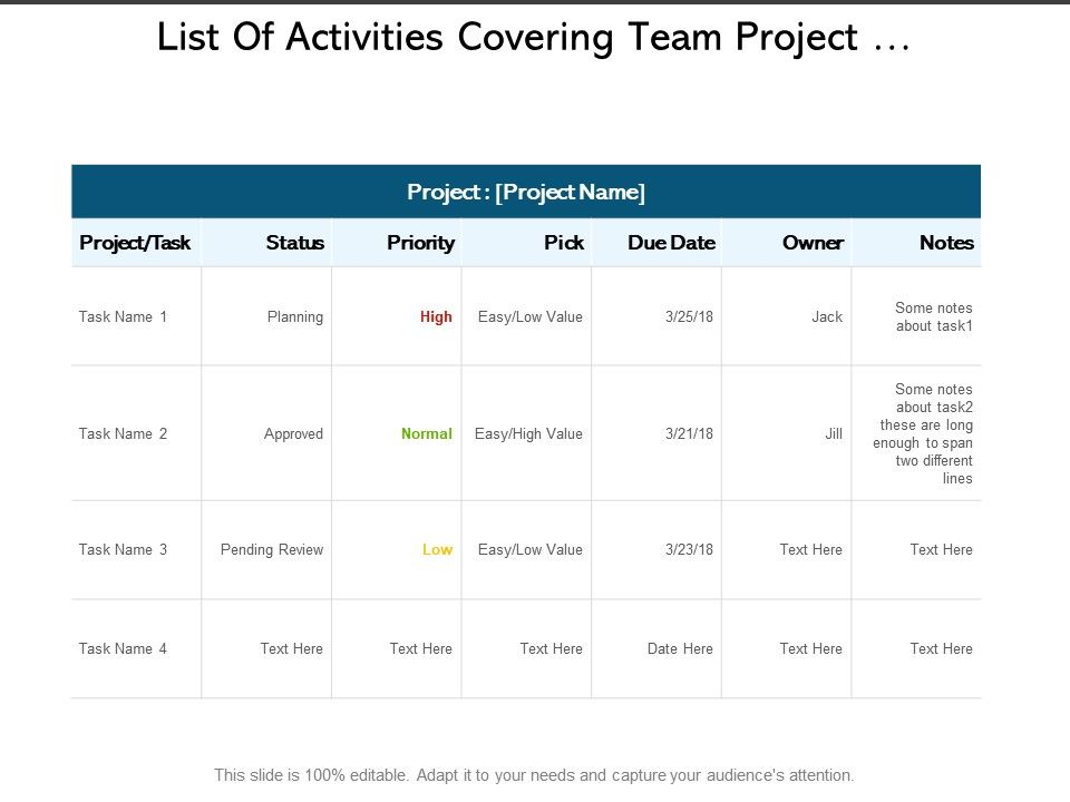 list_of_activities_covering_team_project_organizer_with_status_report_Slide01