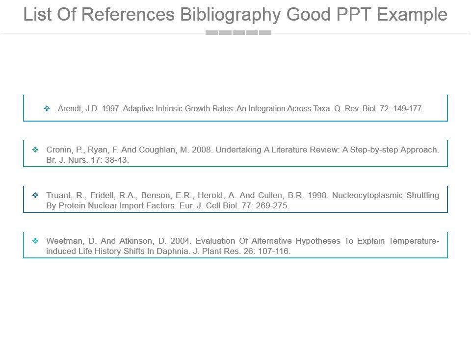 list of references bibliography good ppt example powerpoint