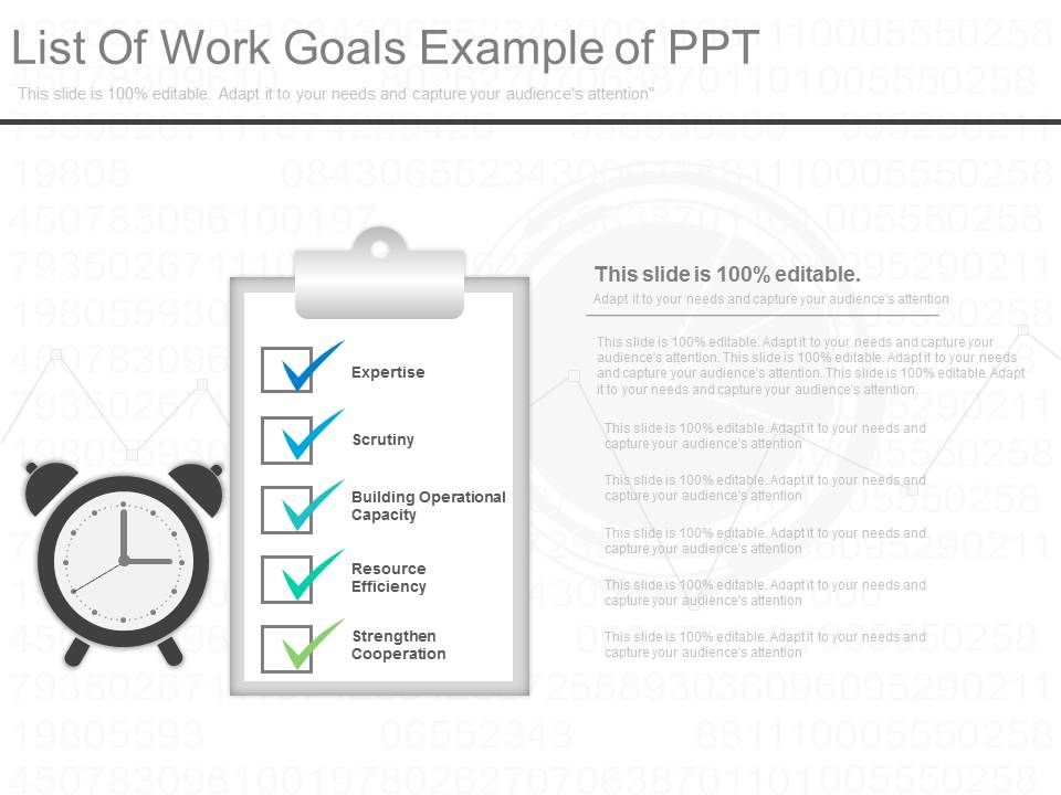 List Of Work Goals Example Of Ppt PowerPoint Templates Designs