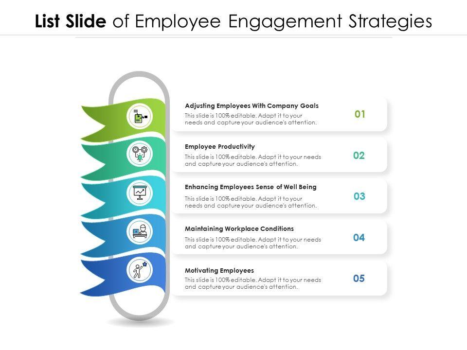 List Slide Of Employee Engagement Strategies