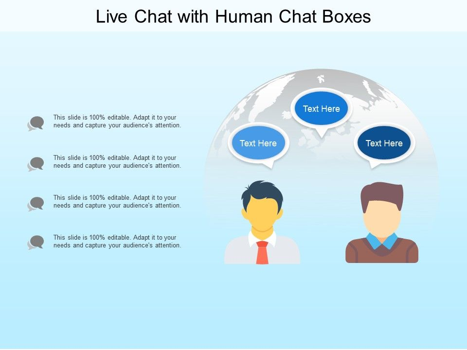 Live Chat With Human Chat Boxes Powerpoint Templates Download