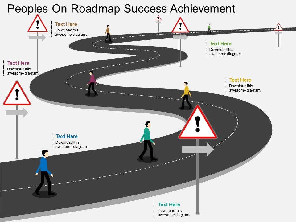 ll peoples on roadmap success achievement flat powerpoint design