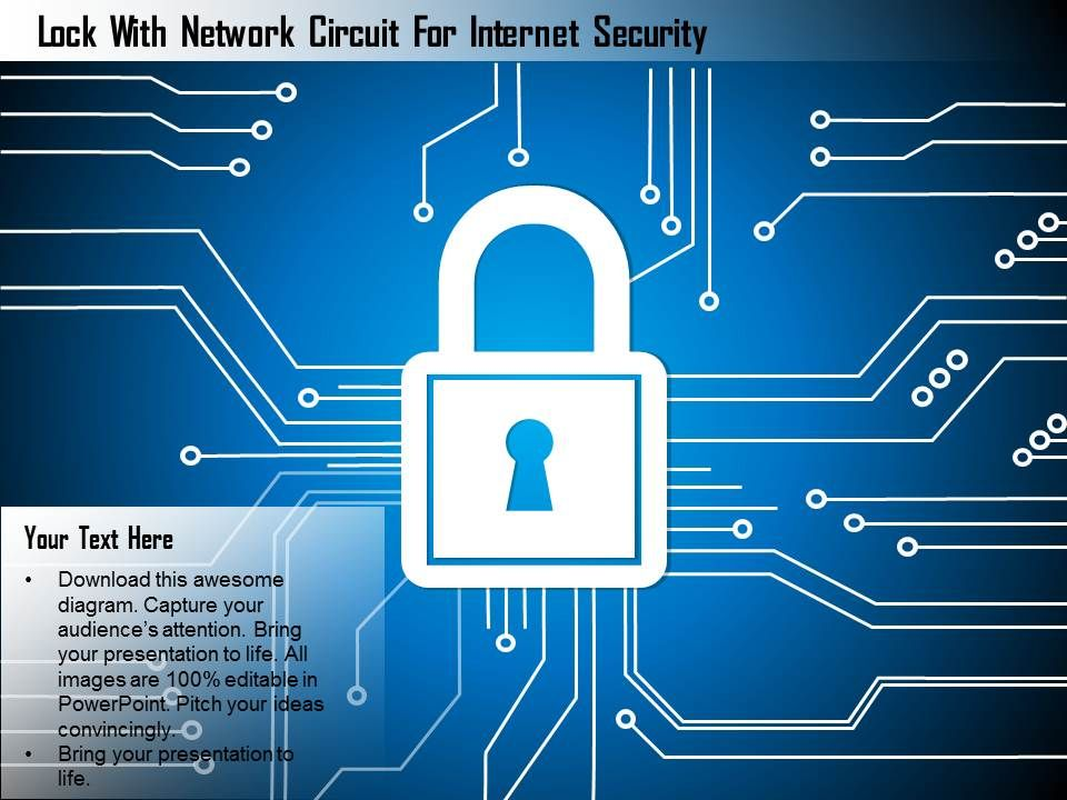 lock with network circuit for internet security ppt slides, Powerpoint templates