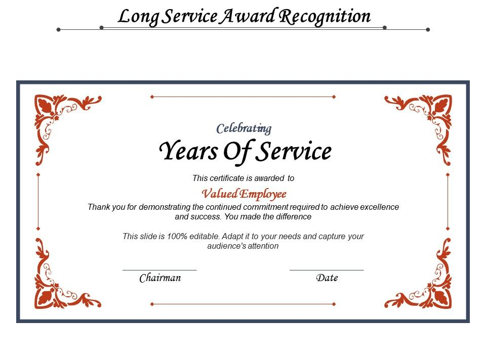 Long Service Award Recognition Powerpoint Design Template