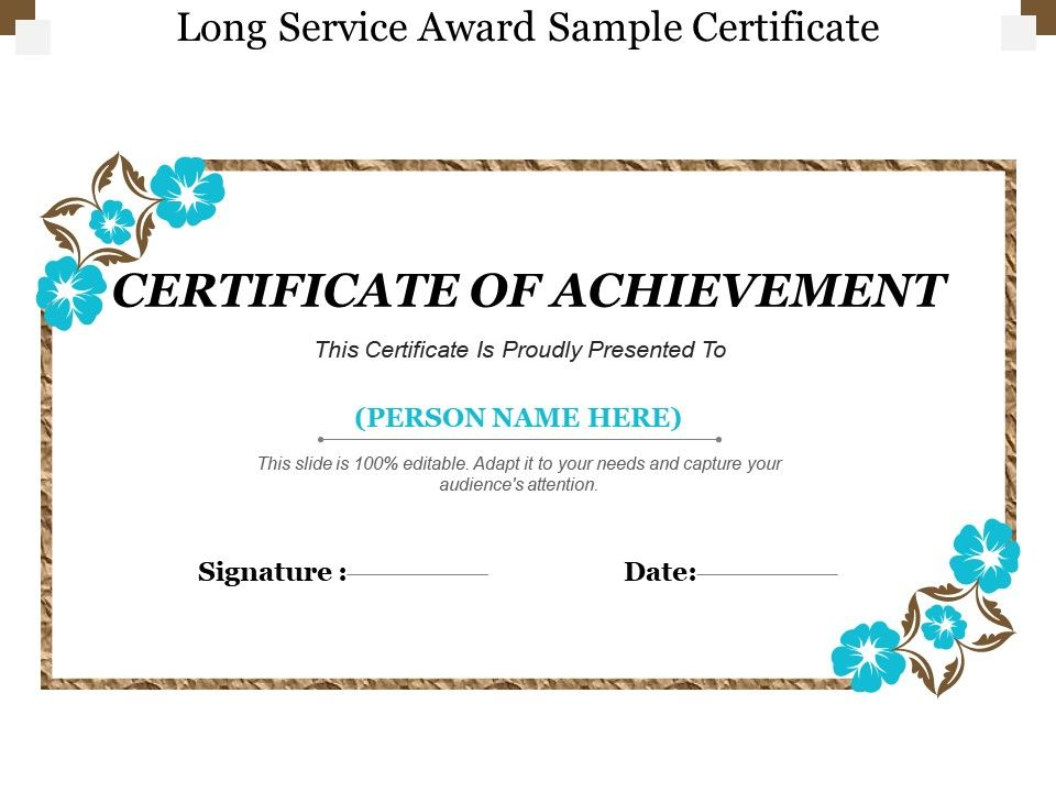 Long Service Award Sample Certificate Presentation Graphics