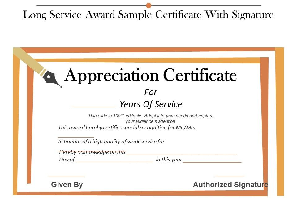 long service award sample certificate with signature