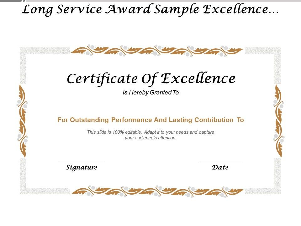 Long Service Award Sample Excellence Certificate Templates