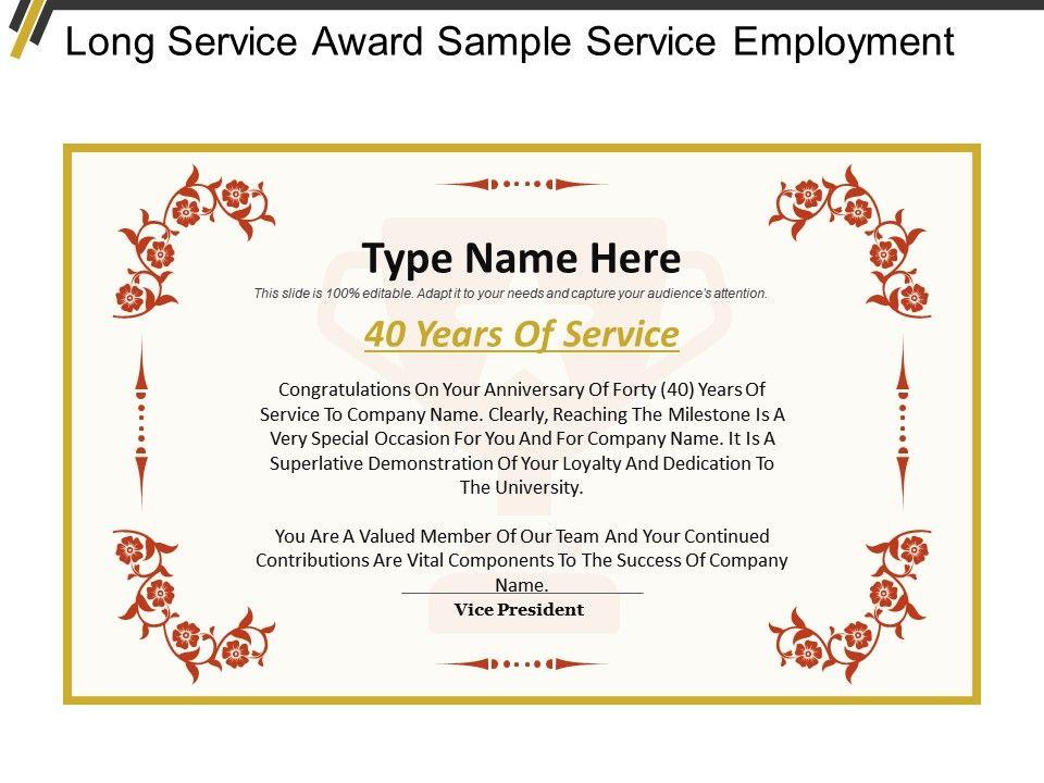 Long service award sample service employment powerpoint longserviceawardsampleserviceemploymentslide01 longserviceawardsampleserviceemploymentslide02 toneelgroepblik Choice Image