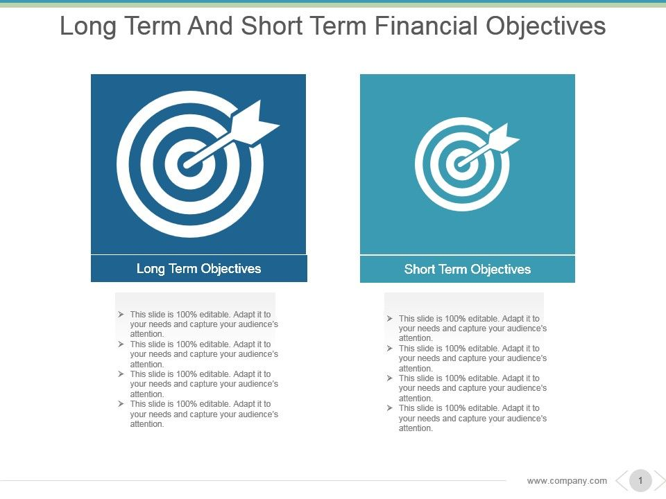 long term and short term financial objectives powerpoint slide