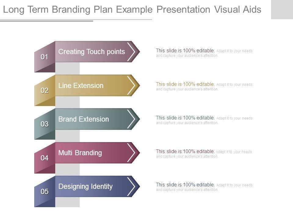Long Term Branding Plan Example Presentation Visual Aids Slide01 Slide02
