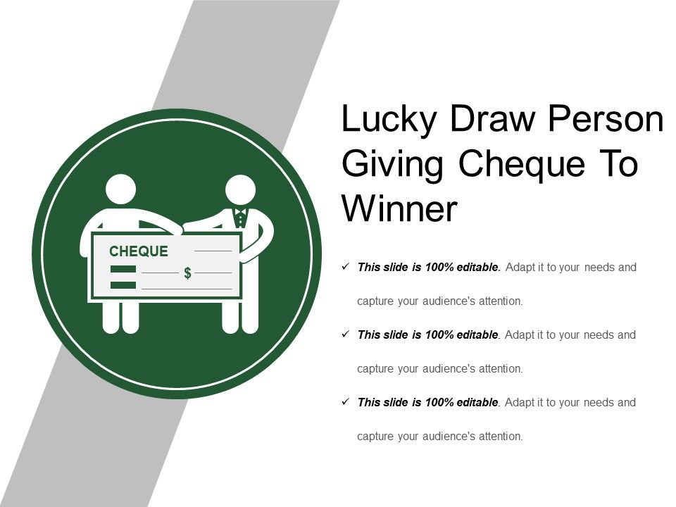 Lucky Draw Person Giving Cheque To Winner Slide01 Slide02 Slide03