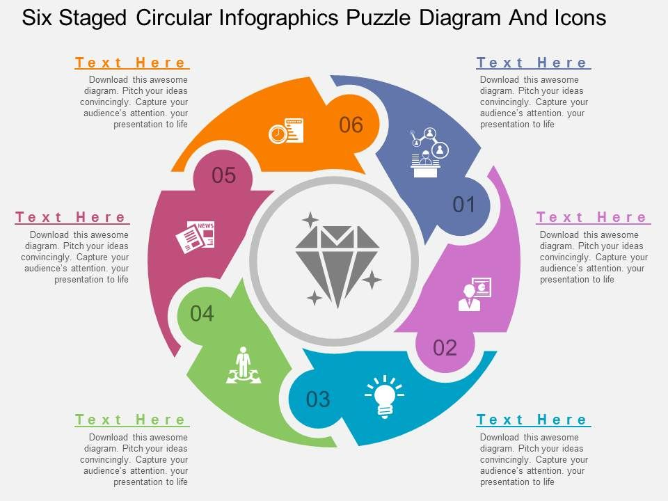 lv_six_staged_circular_infographics_puzzle_diagram_and_icons_flat_powerpoint_design_Slide01