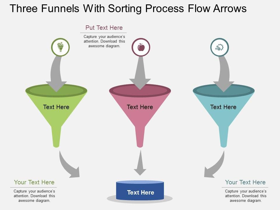 ly_three_funnels_with_sorting_process_flow_arrows_flat_powerpoint_design_Slide01