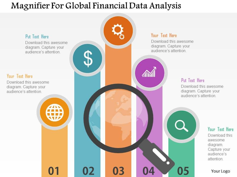 Magnifier For Global Financial Data Analysis Flat Powerpoint