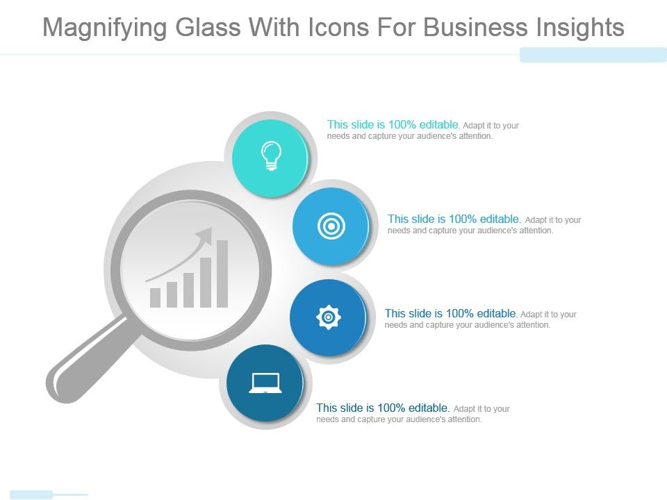 magnifying glass with icons for business insights powerpoint slides