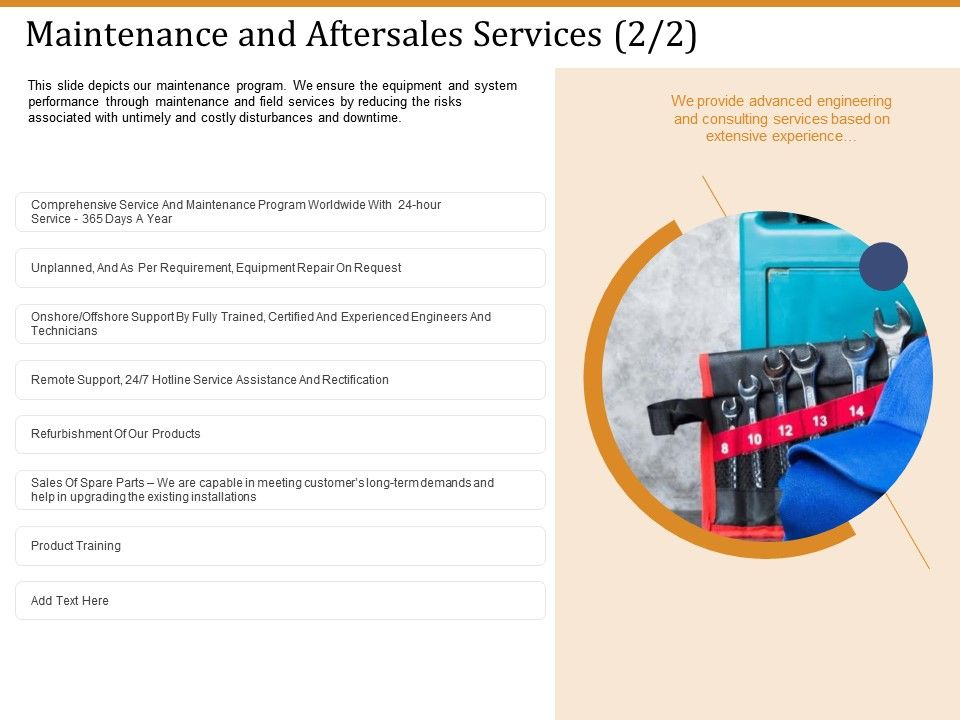 Maintenance And Aftersales Services Products Ppt Powerpoint Presentation Pictures Tips