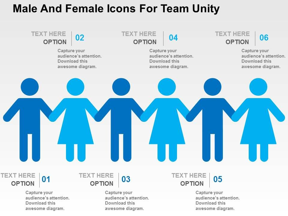 Male And Female Icons For Team Unity Flat Powerpoint Design ...