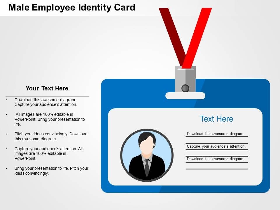 male employee identity card flat powerpoint design