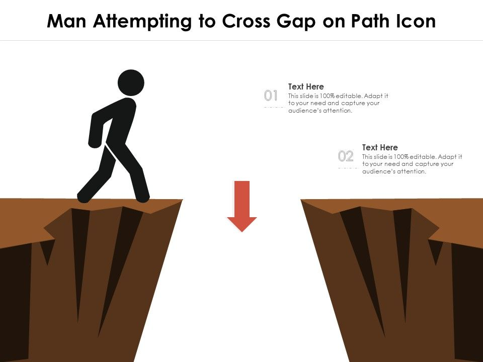 Man Attempting To Cross Gap On Path Icon