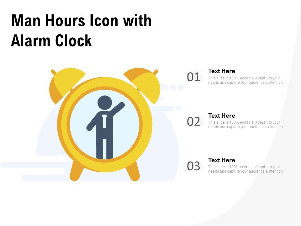 Man Hours Icon With Alarm Clock