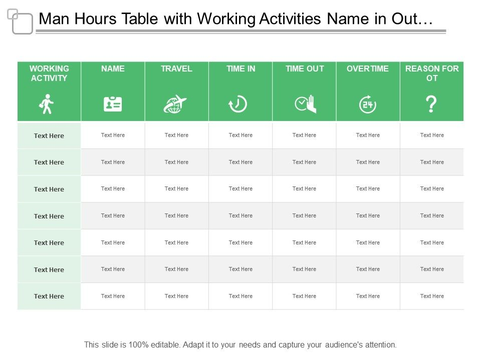 0d49c2cb5c1a man hours table with working activities name in out and over time Slide01.  man hours table with working activities name in out and over time Slide02