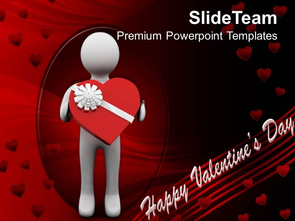 man presenting valentine gift youth powerpoint templates ppt, Powerpoint templates
