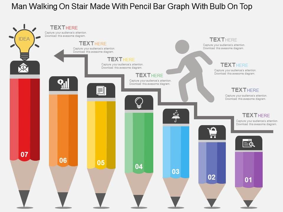 man_walking_on_stair_made_with_pencil_bar_graph_with_bulb_on_top_flat_powerpoint_design_Slide01