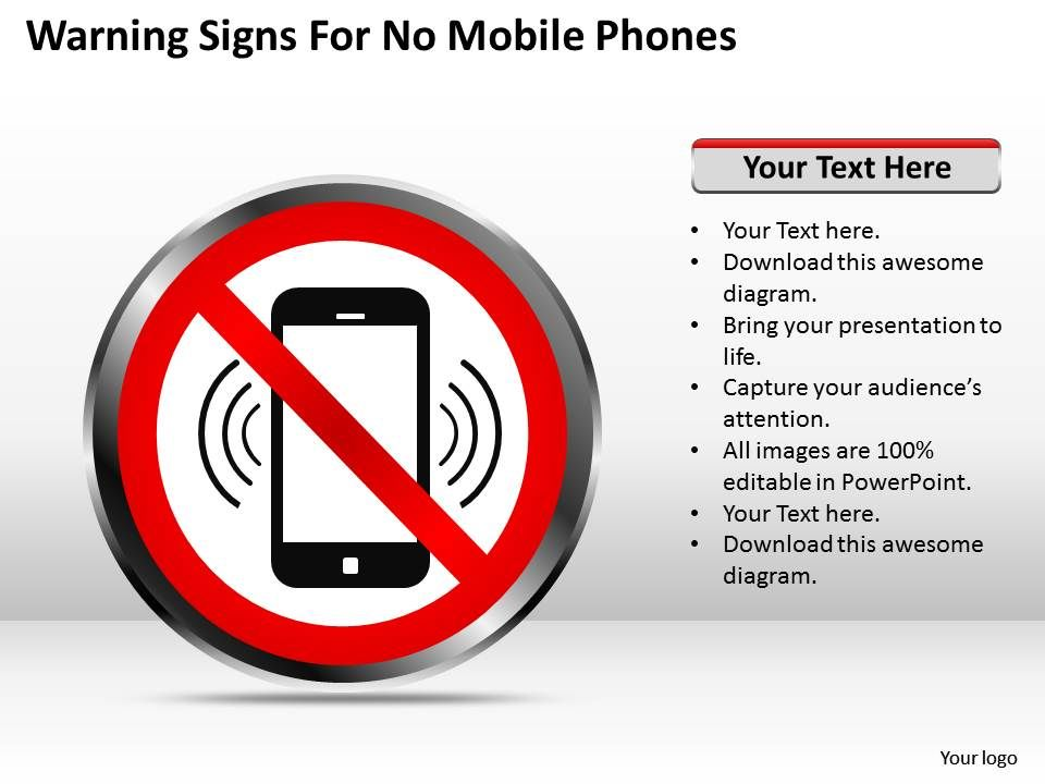 Management Consultant Warning Signs For No Mobile Phones Powerpoint
