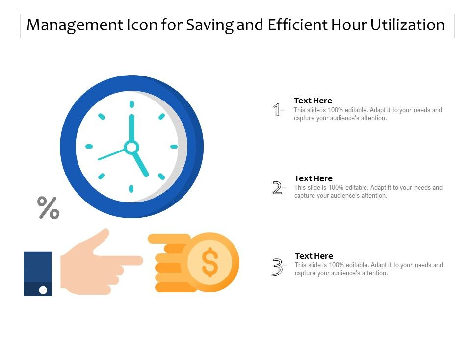Management Icon For Saving And Efficient Hour Utilization