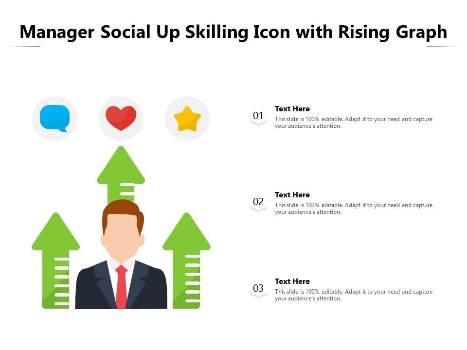 Manager Social Up Skilling Icon With Rising Graph
