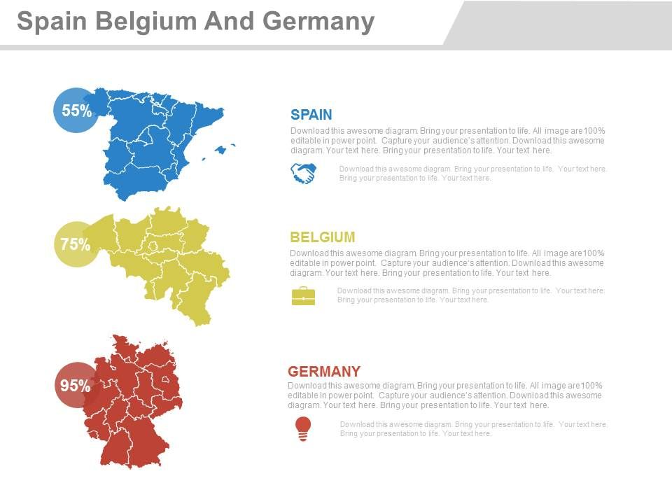 Map Of Germany To Spain.Map Of Spain Belgium And Germany With Percentage Powerpoint Slides