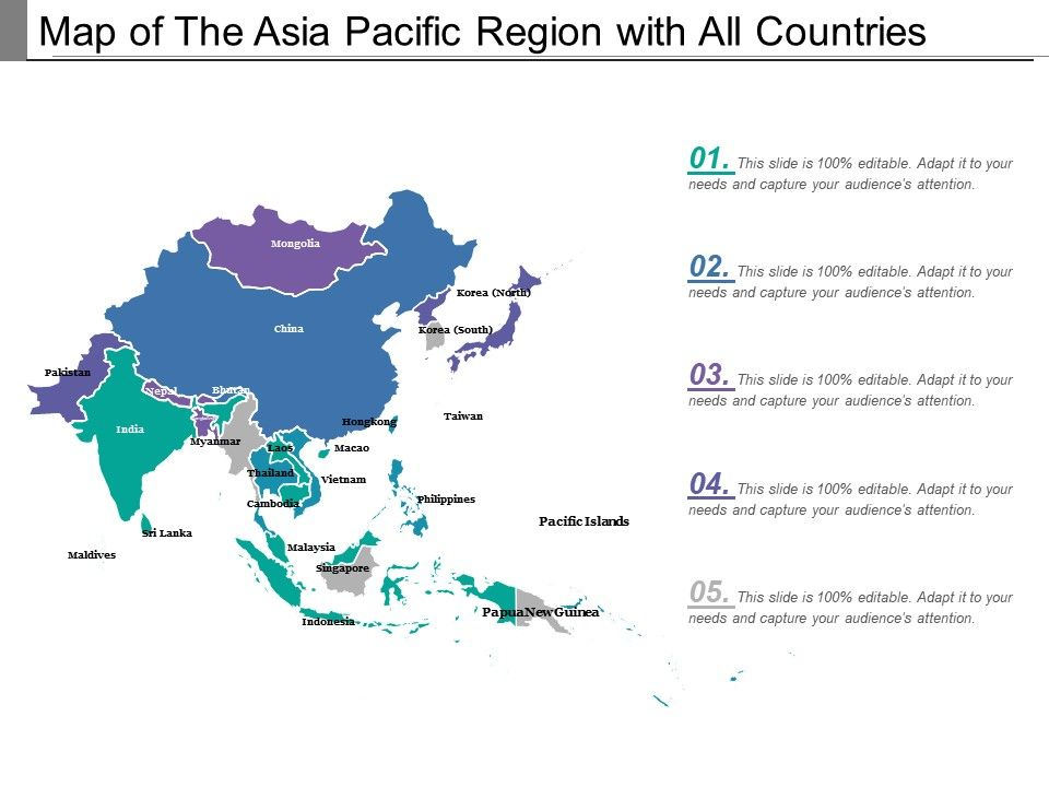 Map Of The Asia Pacific Region With All Countries | PowerPoint ...