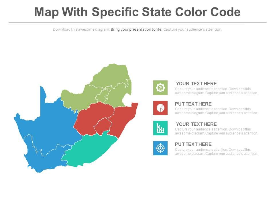 Map With Specific State Color Code And Icons Powerpoint Slides - Map color code