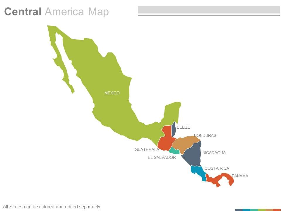 Maps Of Central American America Region Countries In Powerpoint ...