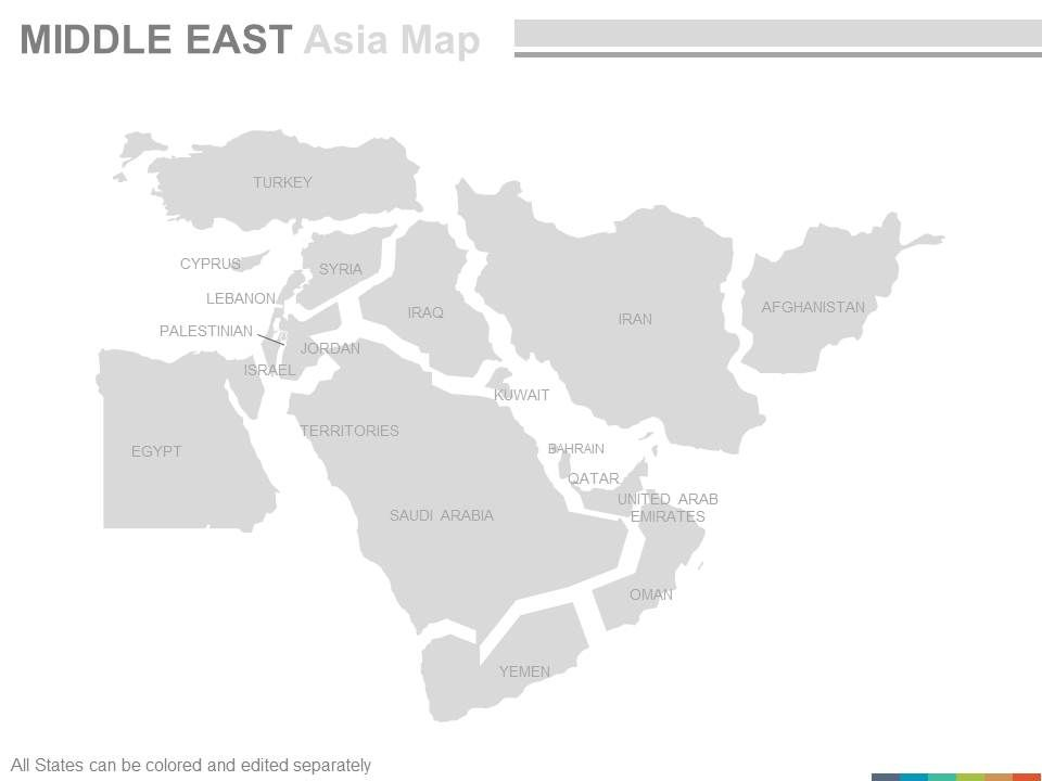 Maps Of Middle East Region Continent Countries In Powerpoint