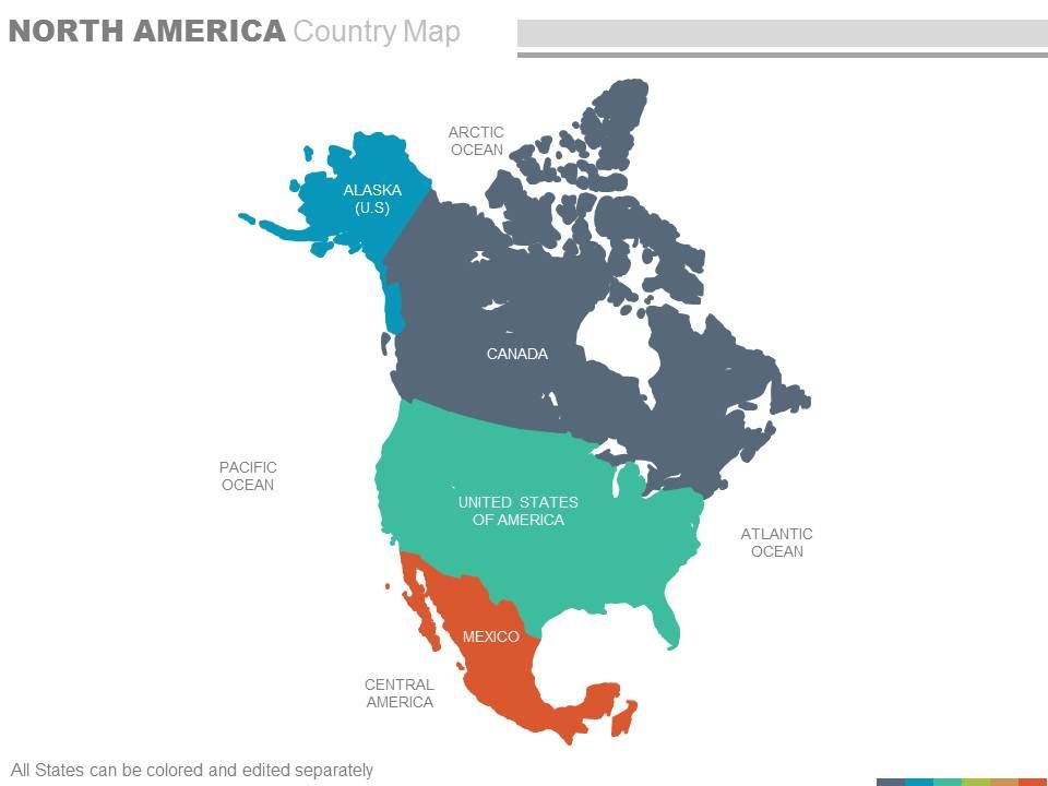 Maps Of North America Continent Region Countries In Powerpoint ...