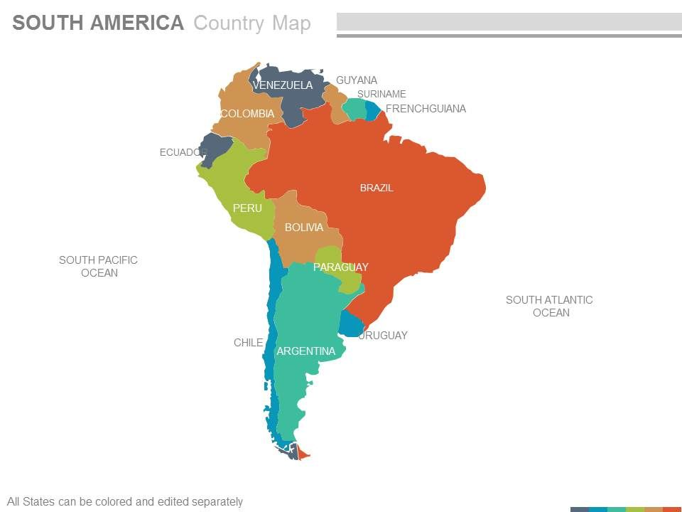Country Map Of America.Maps Of South America Continent Countries In Powerpoint