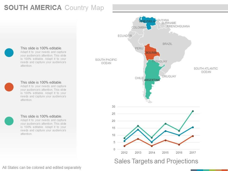 Map Of South America 2017.Maps Of South America Continent Countries In Powerpoint