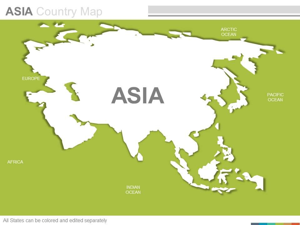 The Continent Of Asia Map.Maps Of The Asian Asia Continent Countries In Powerpoint Templates