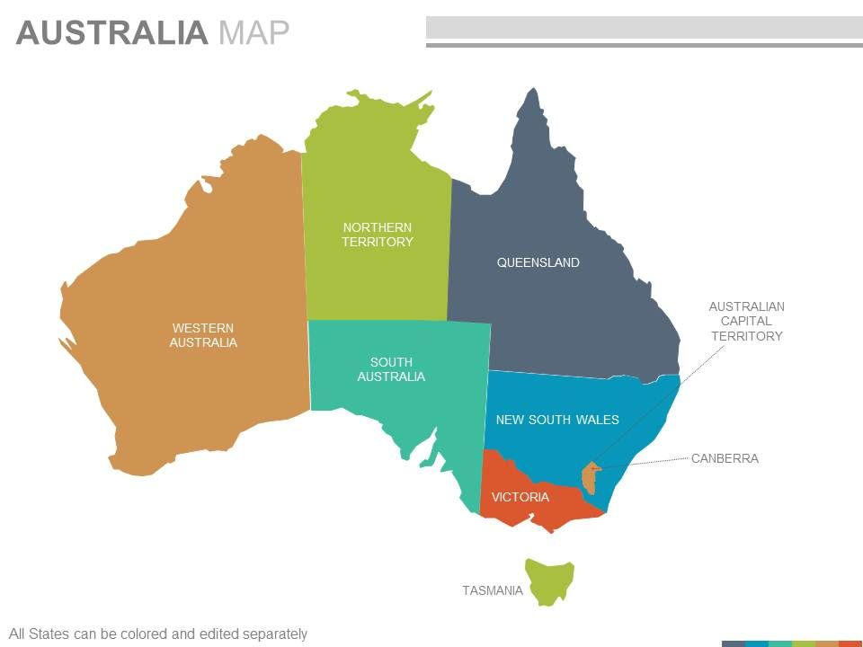 Australia Map Template.Maps Of The Australian Australia Continent Countries In Powerpoint