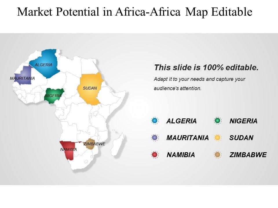 Market Potential In Africa Africa Map Editable Ppt Slide ...
